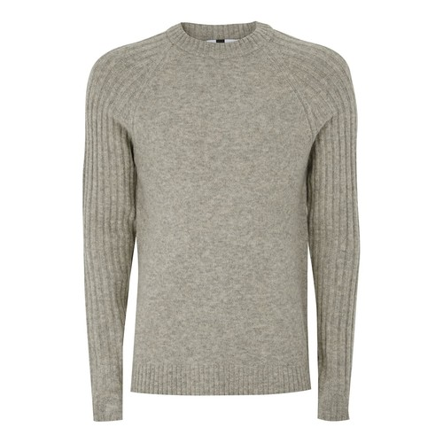 Stone Wool Ribbed Raglan Sweater