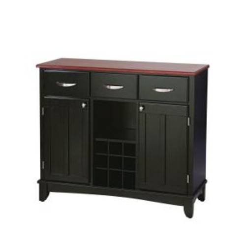 Home Styles Black and Cherry Buffet with Wine Storage