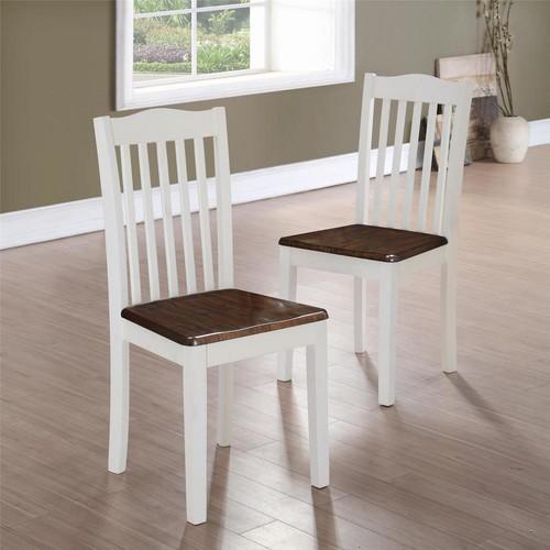 Dorel Shiloh Dark Walnut / White Dining Chairs (Set of 2)