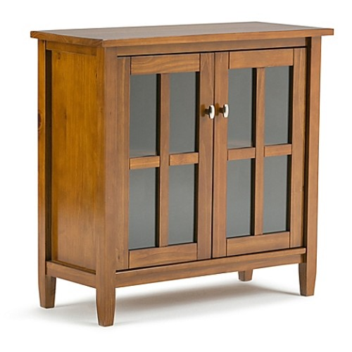 Simpli Home Warm Shaker 32-Inch Low Storage Cabinet in Honey Brown