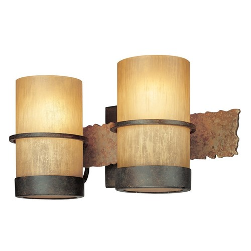 Troy Lighting Bamboo 2-Light Vanity - Bamboo Bronze with Natural Slate Finish and Bamboo Glass [2-Light]