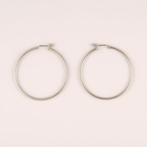 Women's Silvertone Thin Hoop Earrings