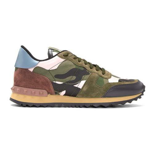 VALENTINO Green & Pink  Garavani Camo Rockrunner Sneakers