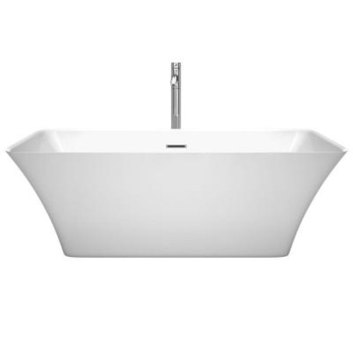 Wyndham Collection Tiffany 67 in. Acrylic Flatbottom Center Drain Soaking Tub in White with Floor Mounted Faucet in Chrome