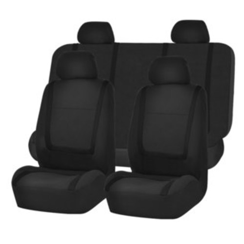 Fresh-Mesh Seat Covers Set Original Black Polyester with Breathable Knit Mesh Panel Accents