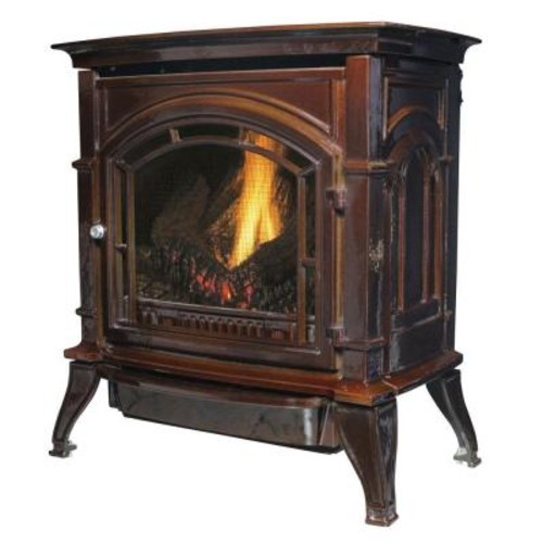 Ashley Hearth Products 31,000 BTU Vent Free Natural Gas Stove Mahogany Enameled Porcelain Cast Iron