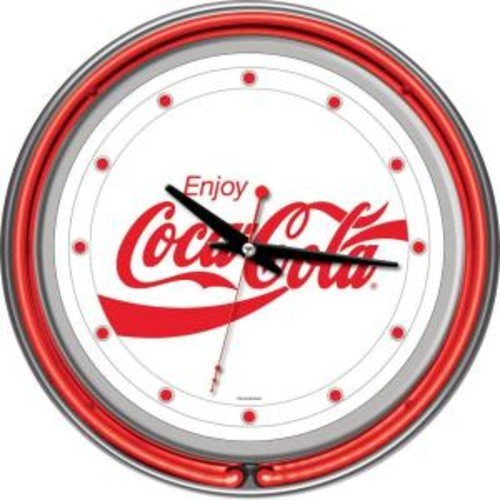 Trademark Global 14 in. Enjoy Coke White Neon Wall Clock