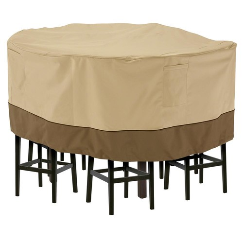 Classic Accessories Veranda Medium Tall Round Patio Table and 6 Tall Chairs Set Cover