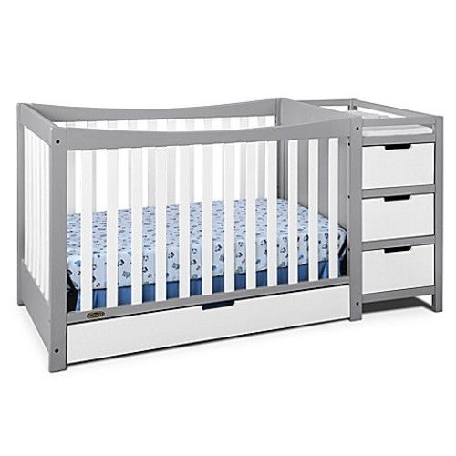 Graco Remi 4-in-1 Convertible Crib and Changer in Grey/White