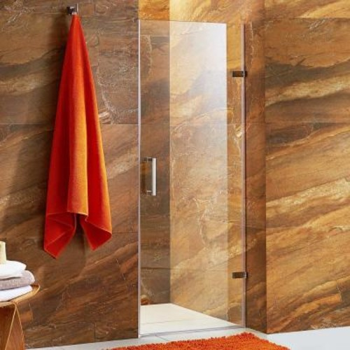 VIGO SoHo 28 in. to 28.5 in. x 70.625 in. Frameless Pivot Shower Door with Hardware in Chrome with 3/8 in. Clear Glass
