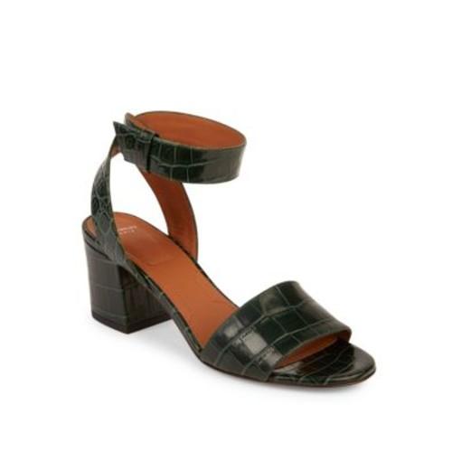 GIVENCHY Paris Croc-Embossed Leather Block Heel Sandals