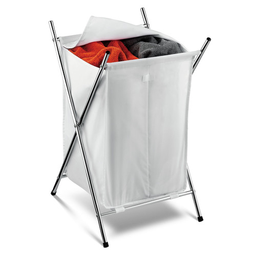 Honey Can Do Folding Hamper with 2 Sorters and Steel X-Frame, White/Chrome