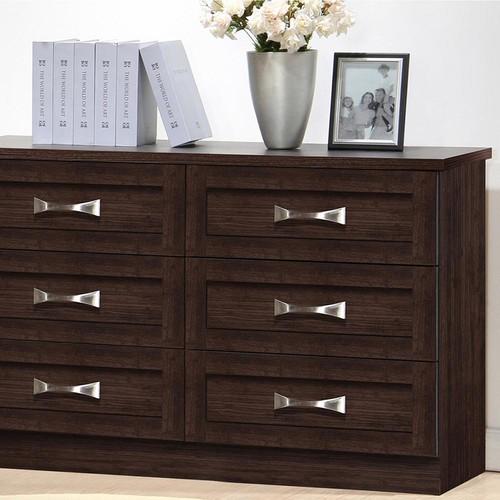 Baxton Studio Colburn 6-Drawer Dark Brown Wood Dresser