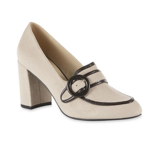 Simply Styled Women's Dannon Taupe Chunky Heel Pump [Width : Medium]
