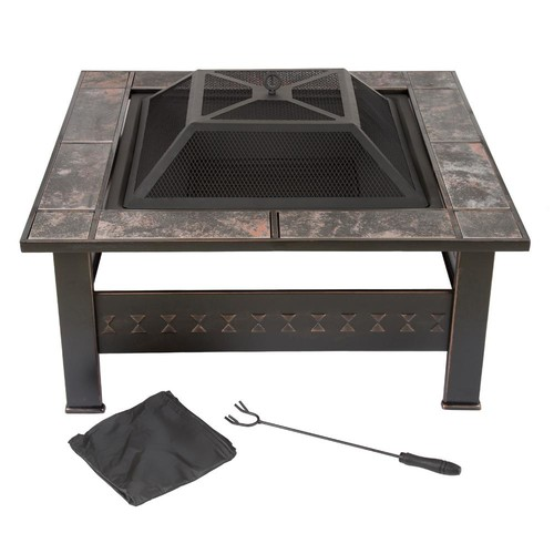 Pure Garden 32 in. Steel Square Tile Fire Pit with Cover