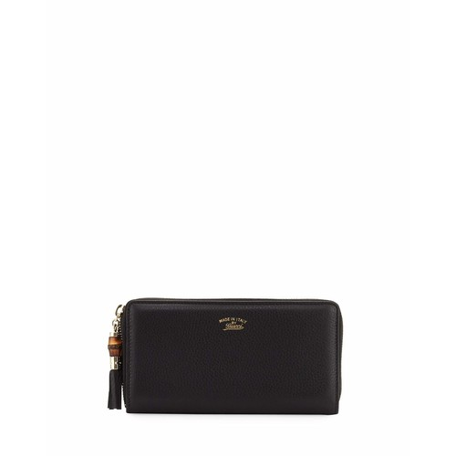 GUCCI Black Leather Bamboo Tassel Zip Around Continental Wallet