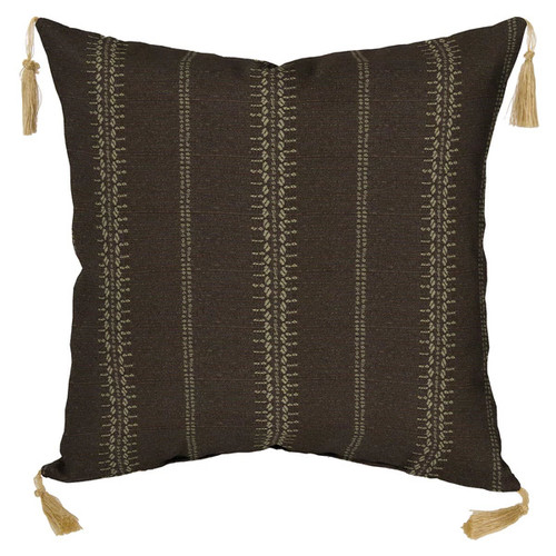 Bombay Outdoors Trevor Stripe Espresso Toss Pillow with Tassels