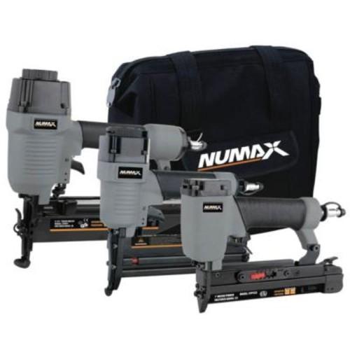 NuMax Pneumatic Finish Combo Kit with 16-Gauge Nailer, 23-Gauge Pinner and 18-Gauge 2-in-1 Brad Nailer/Stapler (3-Piece)