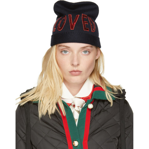 GUCCI Navy Wool 'Loved' Beanie