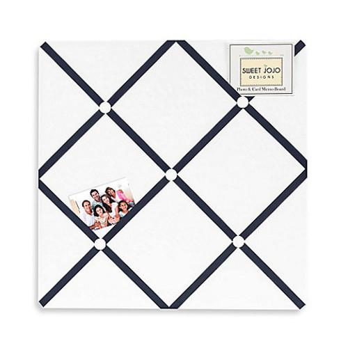 Sweet Jojo Designs Hotel Fabric Memo Board in White/Navy