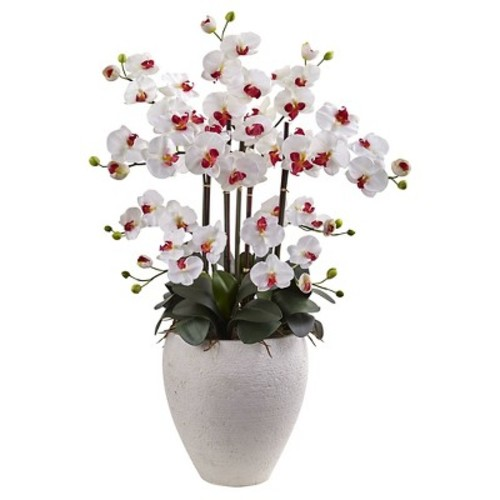 Phalaenopsis Orchid Silk Arrangement with White Planter - Nearly Natural