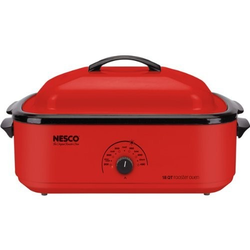 1425-Watt, 18-Quart Professional Porcelain Roaster Oven with Red Finish by Nesco