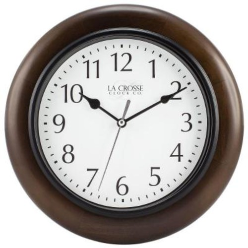 La Crosse Technology 10 in. H Round Brown Solid Wood Analog Wall Clock