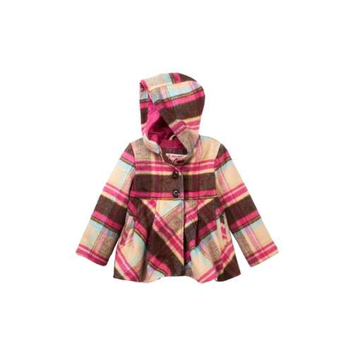 Single Breasted Faux Shearling Hooded Jacket (Toddler & Little Girls)