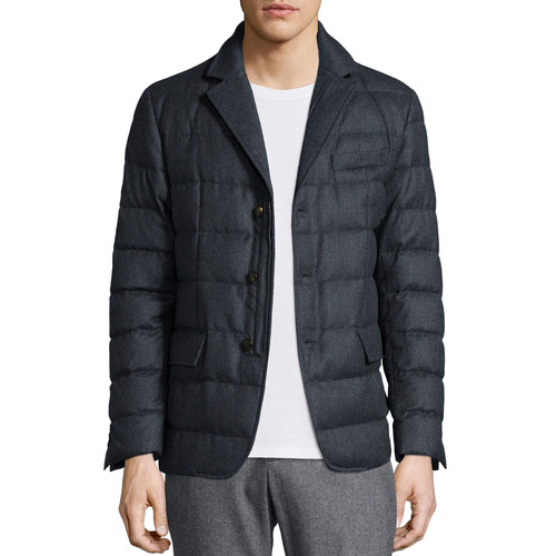 MONCLER Rodin Quilted Button-Down Jacket, Dark Gray