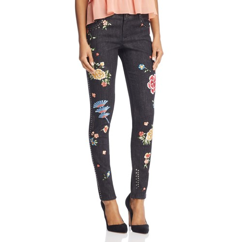 ALICE AND OLIVIA Jane Embroidered And Studded Skinny Jeans In Washed Black