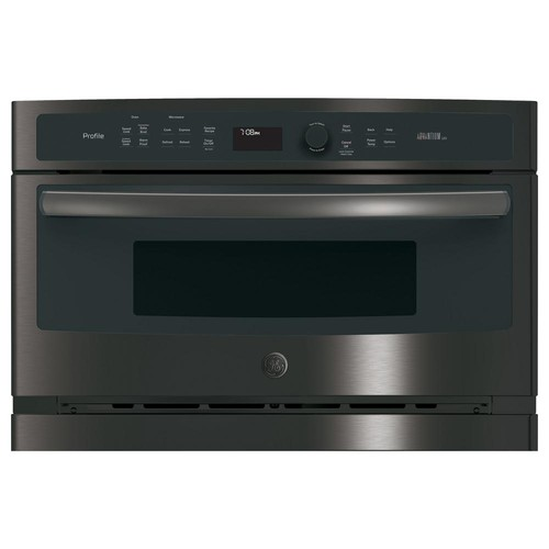 GE 27 in. Single Electric Wall Oven with Advantium Technology in Black Stainless Steel, Fingerprint Resistant