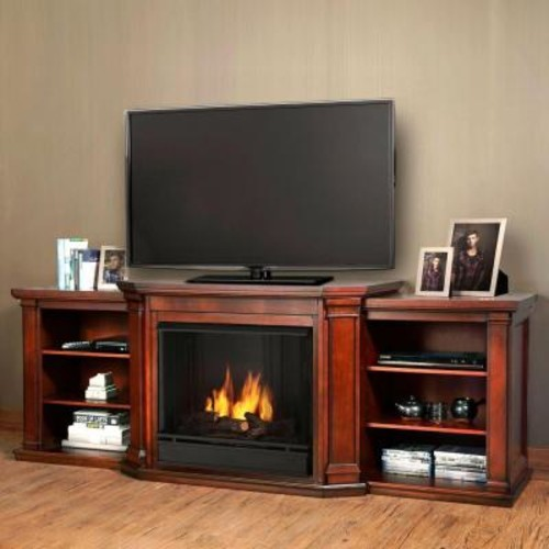 Real Flame Valmont 76 in. Media Console Ventless Gel Fuel Fireplace in Dark Mahogany