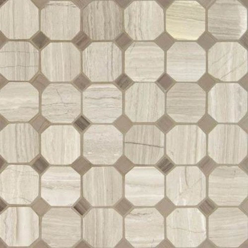 MS International White Oak Octagon 12 in. x 12 in. x 10 mm Honed Marble Mesh-Mounted Mosaic Tile (10 sq. ft. / case)