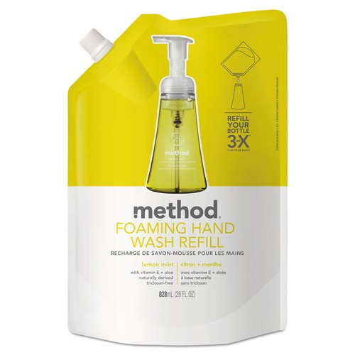 Method Foaming Hand Wash Refill, Lemon Mint, 28 oz Pouch, 6/Carton | PJP Marketplace