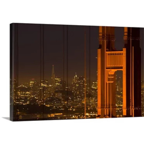Premium Thick-Wrap Canvas entitled USA, California, San Francisco, Golden Gate Bridge, north tower with cityscape,