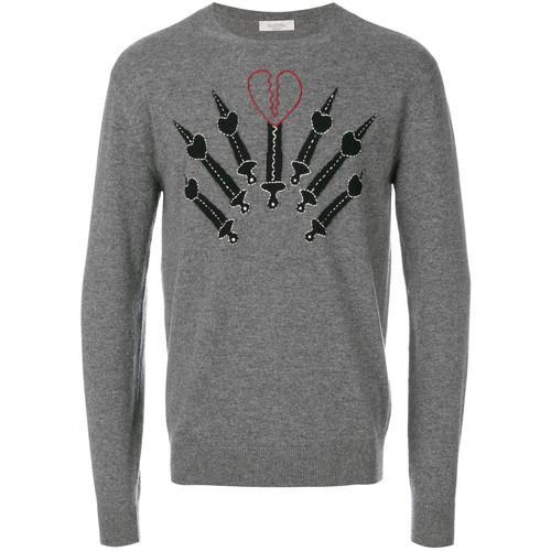pierced heart appliqu sweatshirt