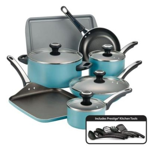 Farberware High Performance 17-Piece Aqua Cookware Set with Lids