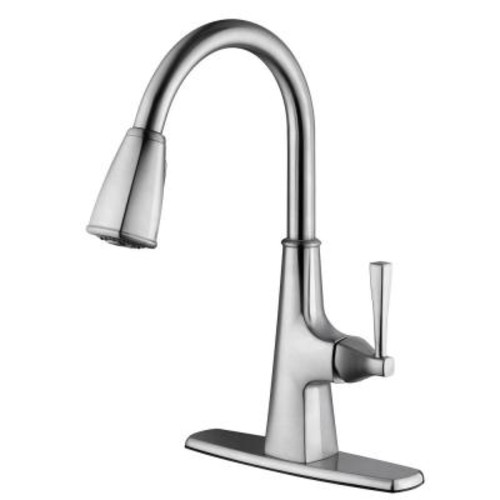 Design House Perth Single-Handle Pull-Down Sprayer Kitchen Faucet in Satin Nickel