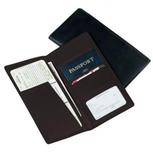 Royce Leather Passport Ticket Holder Black