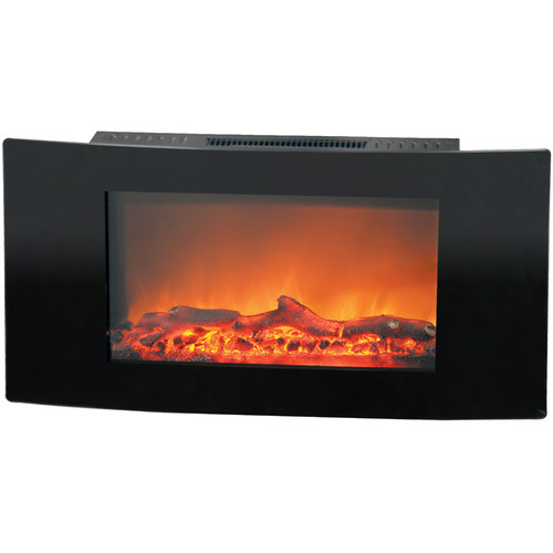 Cambridge Callisto 35 In. Wall-Mount Electronic Fireplace with Curved Panel and Realistic Logs