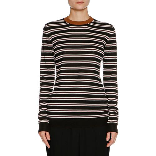 MARNI Striped Cashmere Crewneck Sweater, Black