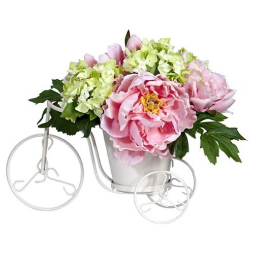 Nearly Natural Peony and Hydrangea Tricycle Silk Flower Arrangement Pink/Green