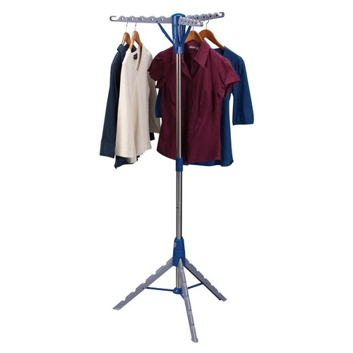 Household Essentials 5009-1 Collapsible Portable Indoor Tripod Clothes Drying Rack for Hanging Laundry   Silver and Blue [1-Tier]