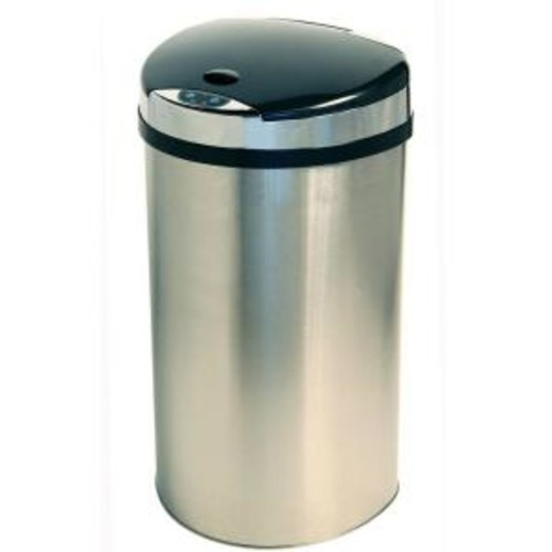 iTouchless 13 Gal. Stainless Steel Semi-Round Extra-Wide Lid Opening Motion Sensing Touchless Trash Can