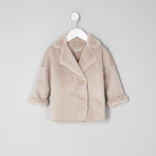 Mini girls pink faux shearling coat