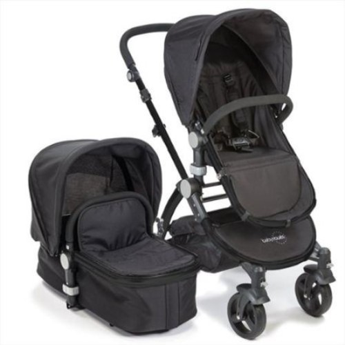 babyroues letour II Bassinet and Stroller Black Frame System in Black