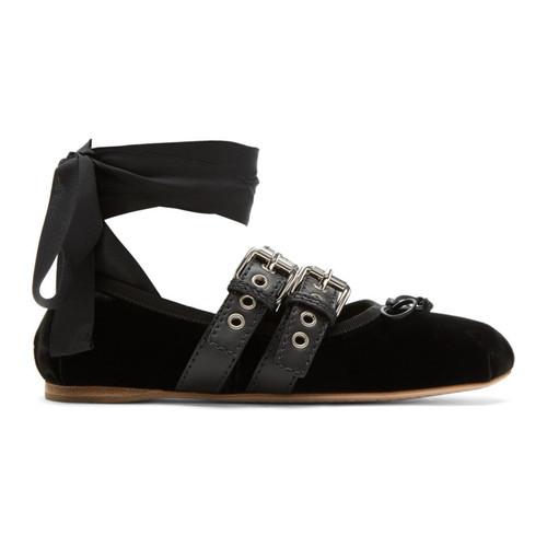 MIU MIU Black Velvet Ballerina Flats