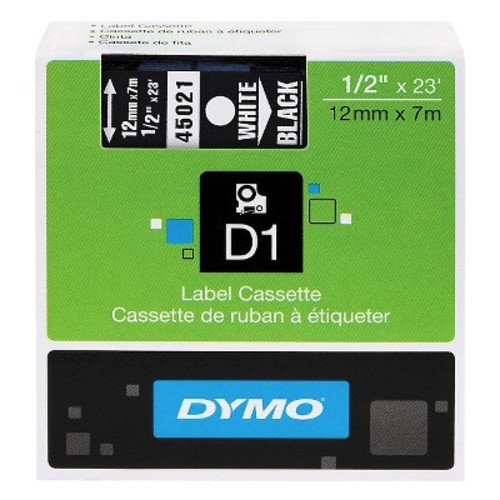 DYM43613 - Dymo Black on White D1 Label Tape [White]