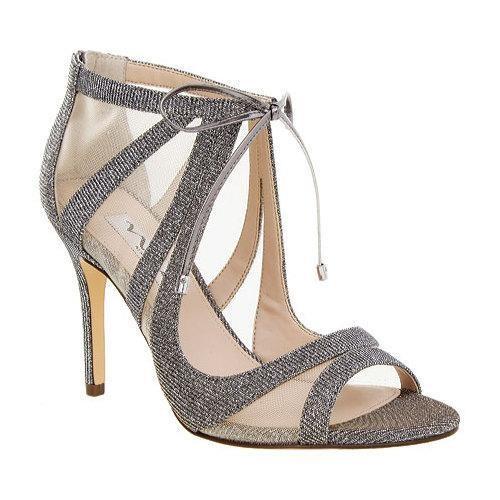 Women's Nina Cherie Peep-Toe Bootie Steel Luna Satin/Champagne Mesh [Shoe Width : m (regular)]