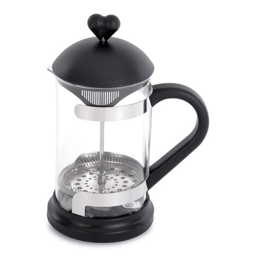 BergHOFF Lover by Lover Black Stainless Steel and Glass Coffee Press and Tea Plunger